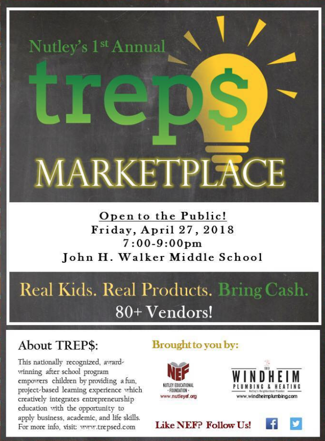Nutley's 1st Annual TREP$ Marketplace. Real Kids. Real Products. Bring Cash!